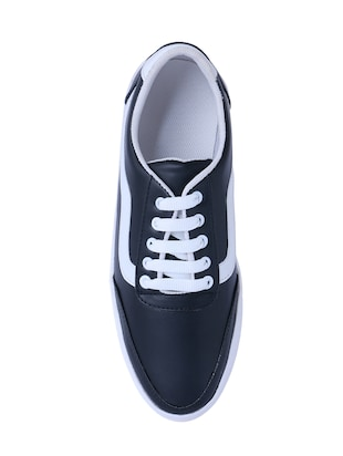 black leatherette lace up sneaker - 14875975 - Standard Image - 4