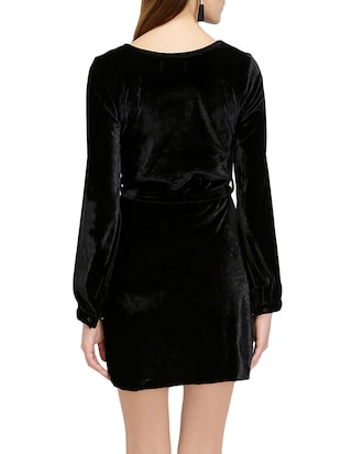 black solid belted dress - 14876543 - Standard Image - 4