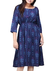 dark blue chiffon blouson dress -  online shopping for Dresses