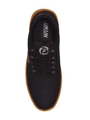 black leatherette lace up sneaker - 14885090 - Standard Image - 4