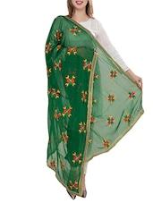 Green Chiffon Phulkari Dupatta - By