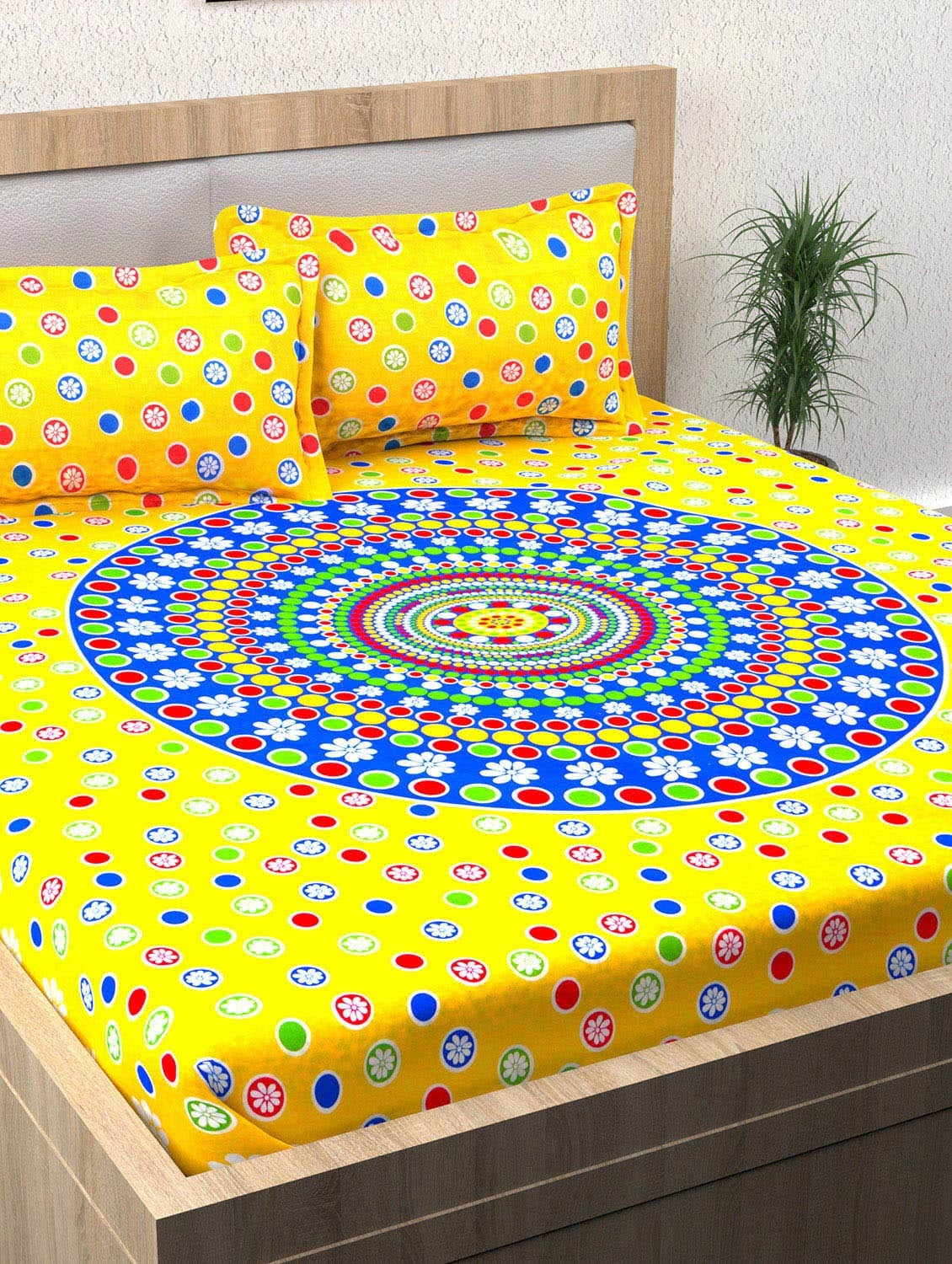 Buy 152 Tc 100% Cotton Yellow Floral 1 Double Bedsheet With 2 Pillow Covers  By Story@home   Online Shopping For Bed Sheet Sets In India | 14886826