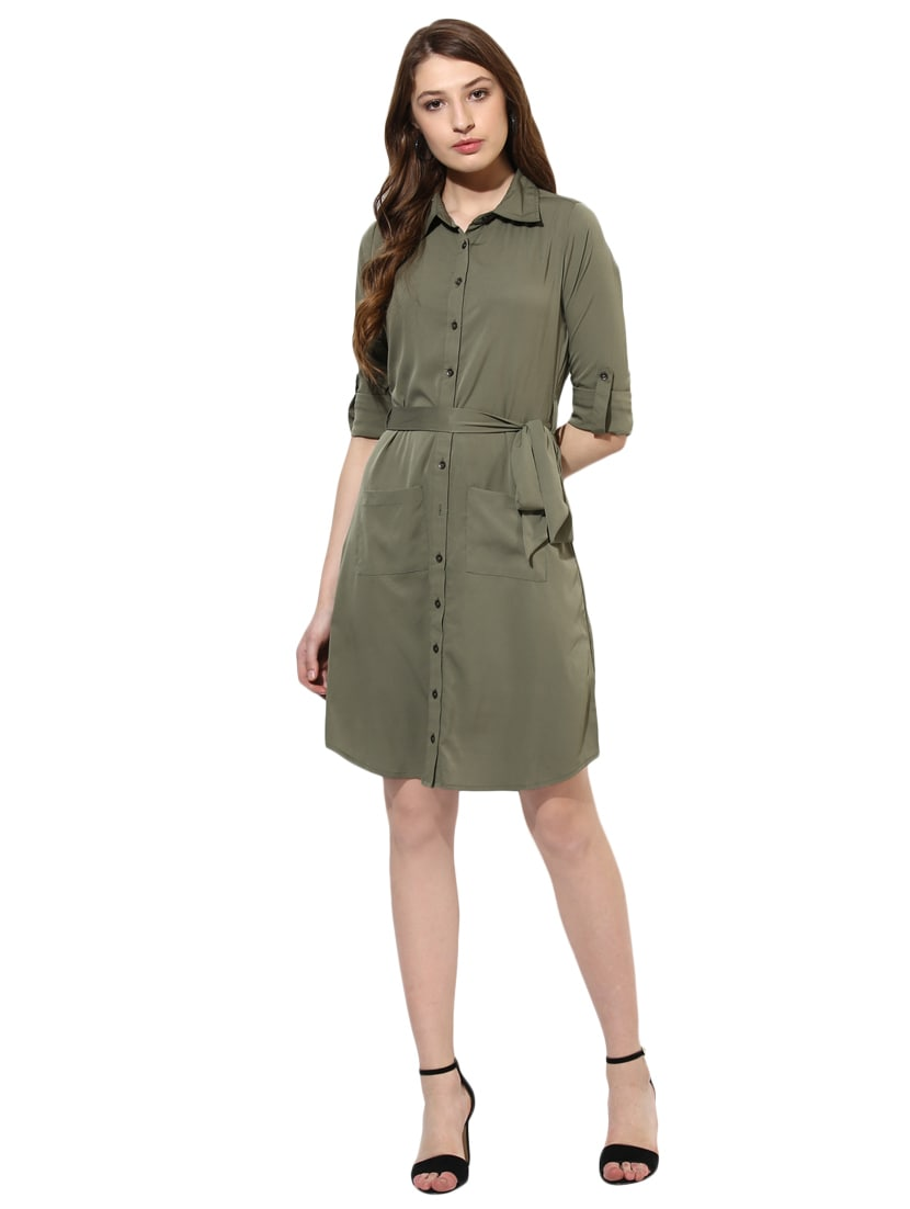 358685d617 Buy Belted Patch Pocket Detail Shirt Dress for Women from Color Cocktail  for ₹749 at 50% off