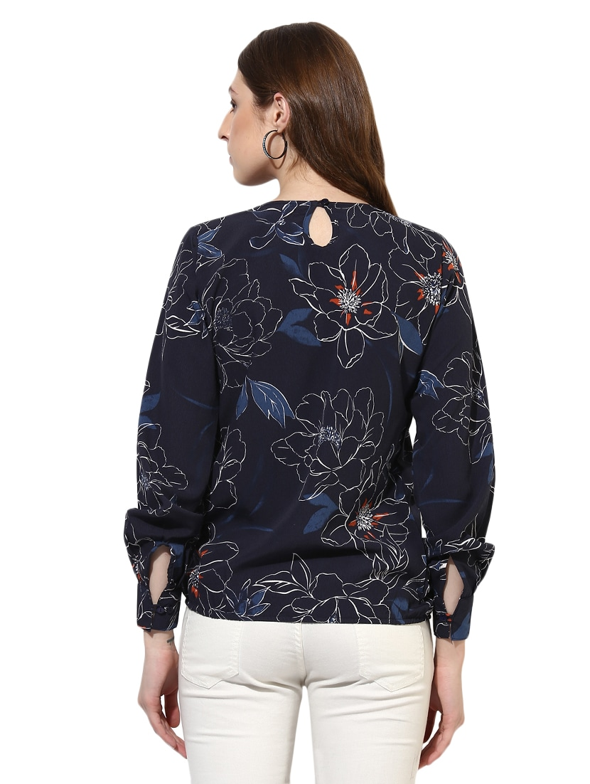 58e82193d2a2e1 Buy Navy Blue Crepe Blouson Top for Women from Color Cocktail for ₹475 at  47% off
