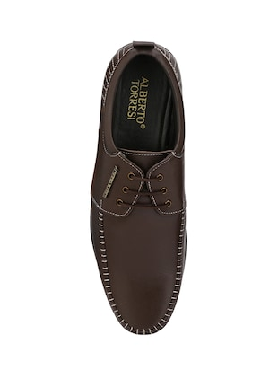 brown leatherette lace-up derby - 14888386 - Standard Image - 4