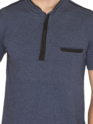 navy blue cotton pocket t-shirt - 14888871 - Standard Image - 4
