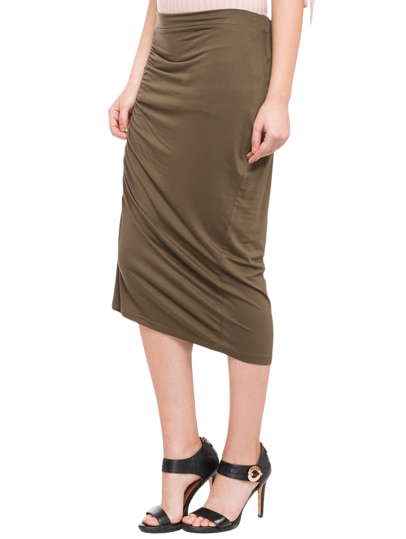 1e3c8048b Buy Olive Green Pencil Skirt for Women from Globus for ₹330 at 70% off |  2019 Limeroad.com