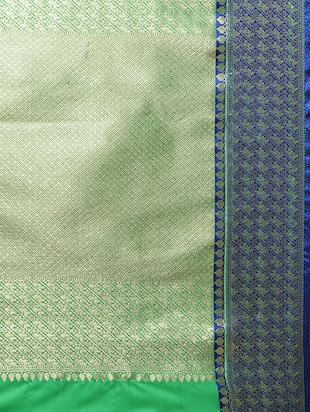green woven saree with blouse - 14890366 - Standard Image - 4