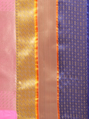 pink silk blend woven saree with blouse - 14890371 - Standard Image - 4