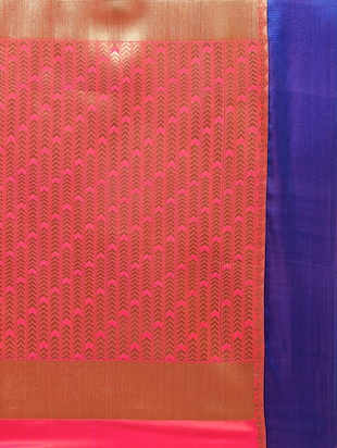 pink woven saree with blouse - 14890383 - Standard Image - 4
