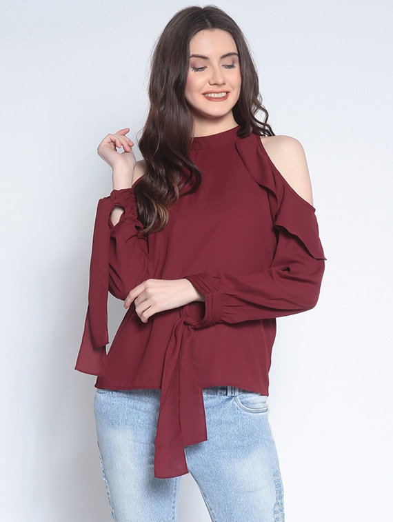 b5f66d16a56 Buy Ruffled Cold Shoulder Top for Women from Rare for ₹636 at 51% off |  2019 Limeroad.com