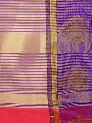 peach cotton blend bordered saree with blouse - 14890887 - Standard Image - 4