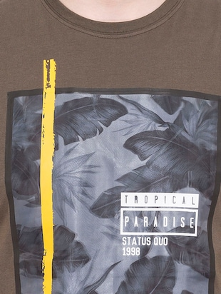 olive green cotton front print tshirt - 14891844 - Standard Image - 4