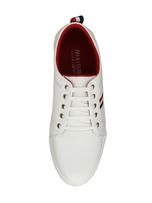 white leatherette lace up sneaker - 14893349 - Standard Image - 4