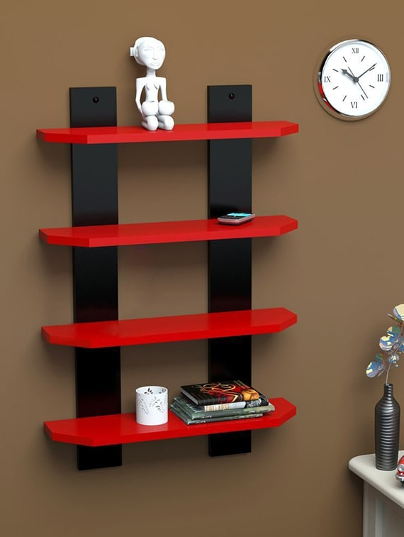 4 Tier Designer Mdf Laminated Ladder Shape Wall Shelf By Sunshine Wood Online Ping For Shelves In India 14894184