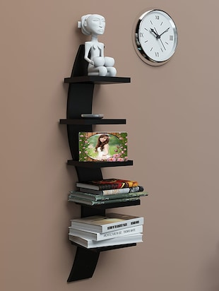 Mdf Floating Wall Shelf Rack Curve Shape 5 Tier - 14894247 - Standard Image - 4