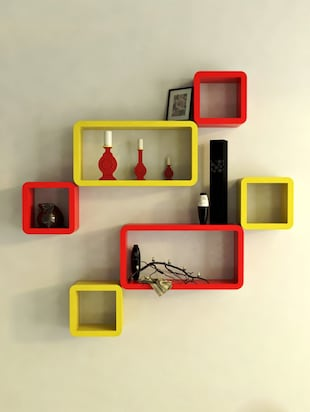 Decor Wall Rack Shelves Cube Rectangle Designer Wall Shelf Set Of 6 - 14894370 - Standard Image - 4
