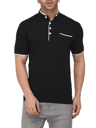 black cotton pocket t-shirt - 14895216 - Standard Image - 1