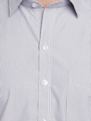 grey cotton formal shirt - 14895502 - Standard Image - 4