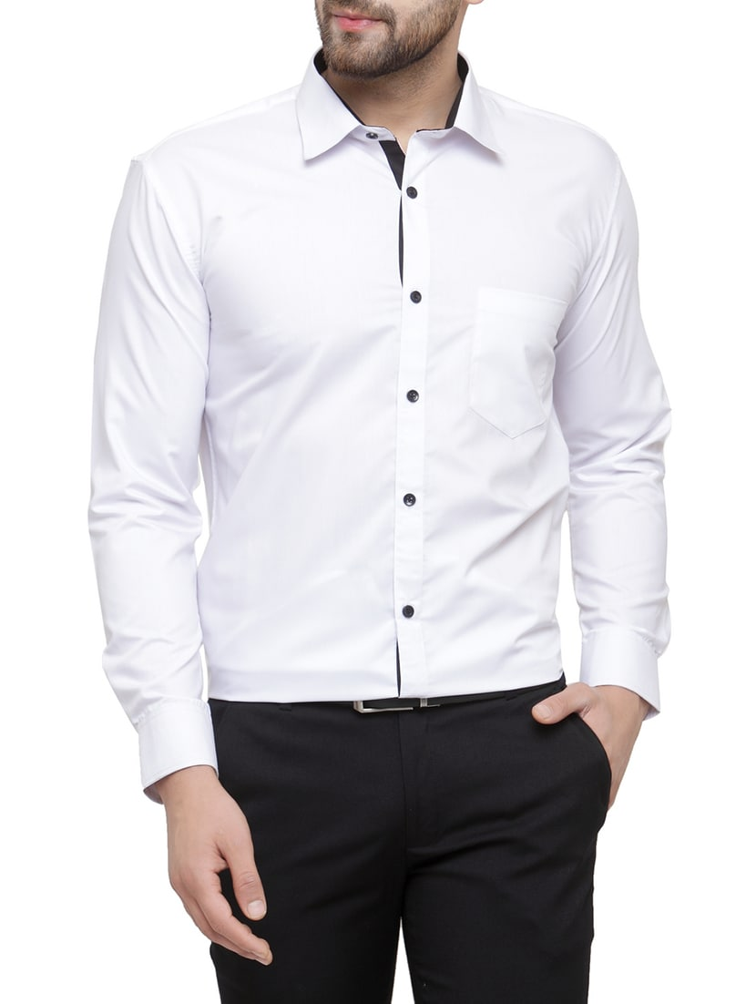 e32bfc7f8be Buy White Cotton Formal Shirt by Jainish - Online shopping for Formal Shirts  in India