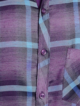 purple cotton casual shirt - 14899962 - Standard Image - 4