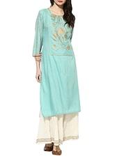 Indian Dobby Turquoise Rayon Straight Kurta - By