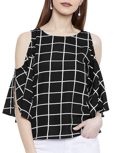 16fa0616e29be Buy Red Checkered Cold Shoulder Top by Anshiroyal - Online shopping ...