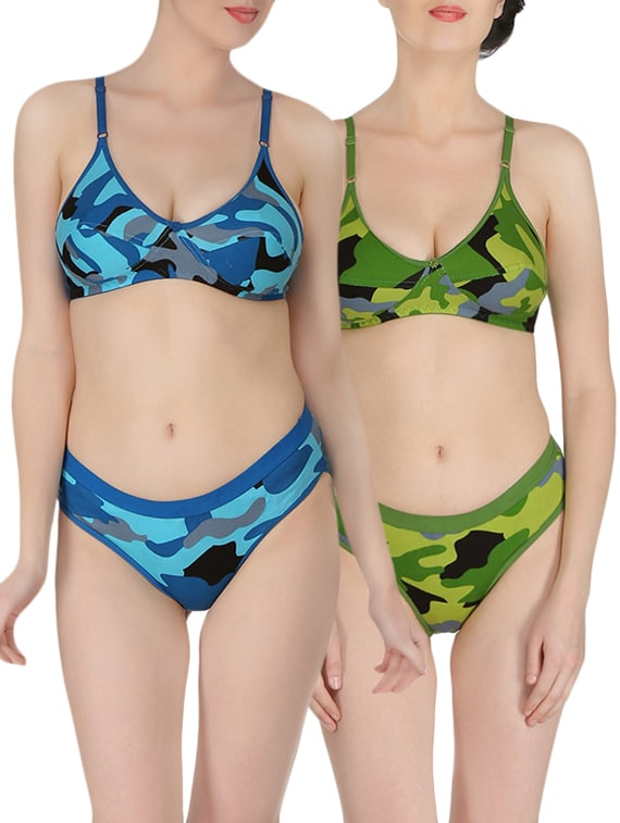 cf266849a6b Buy Set Of 2 Multi Colored Bra And Panty Set for Women from Embibo for ₹496  at 69% off