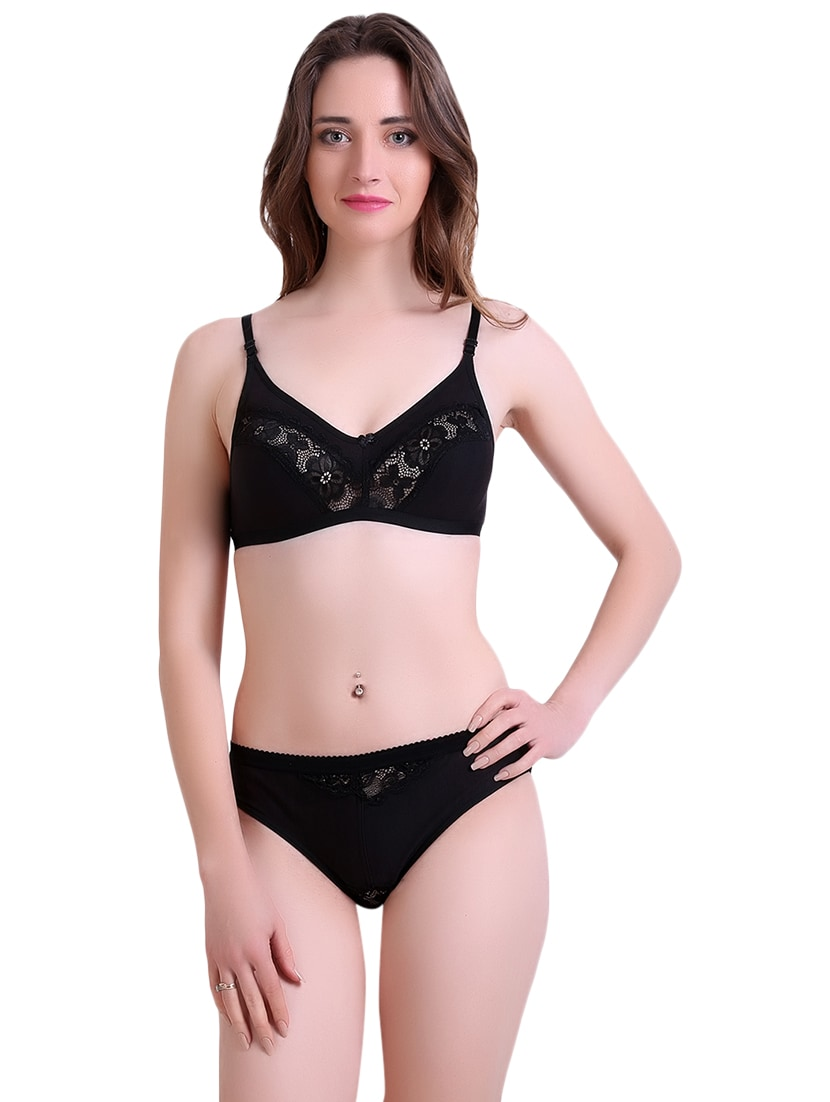 88a1f686ab Buy Black Hosery Bra And Panty Set by Tace - Online shopping for Bras And  Panty Set in India