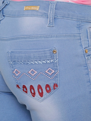 light blue denim short - 14901999 - Standard Image - 4