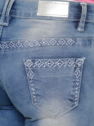 blue denim hot pants short - 14902006 - Standard Image - 4