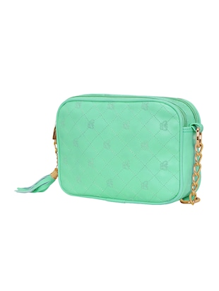 green leatherette regular sling bag - 14903025 - Standard Image - 4
