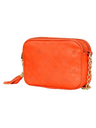 orange leatherette  regular sling bag - 14903027 - Standard Image - 4