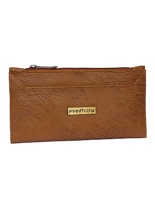 brown leatherette clutch - 14903438 - Standard Image - 4