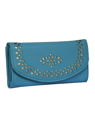 blue leatherette clutch - 14903440 - Standard Image - 4