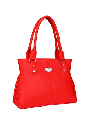 red leatherette  regular handbag - 14903474 - Standard Image - 4