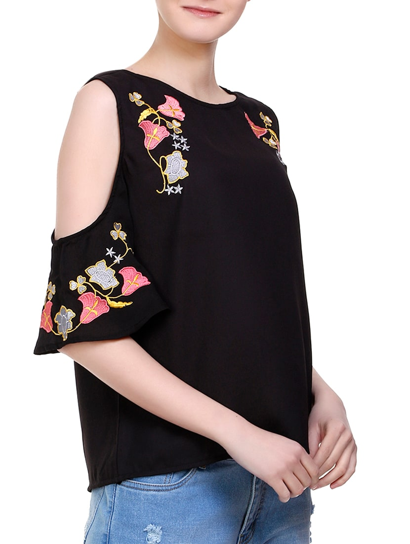 7de9d9efa9456a Buy Black Embroidered Cold Shoulder Top by Indi   Surit - Online shopping  for Tops in India