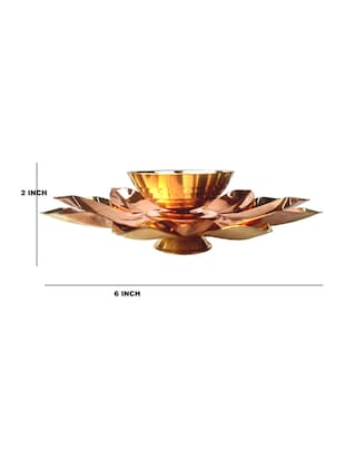 Decorate India Pure Brass and copper Kamal Medium Akhand diya 5.5 inch set - 14905106 - Standard Image - 4