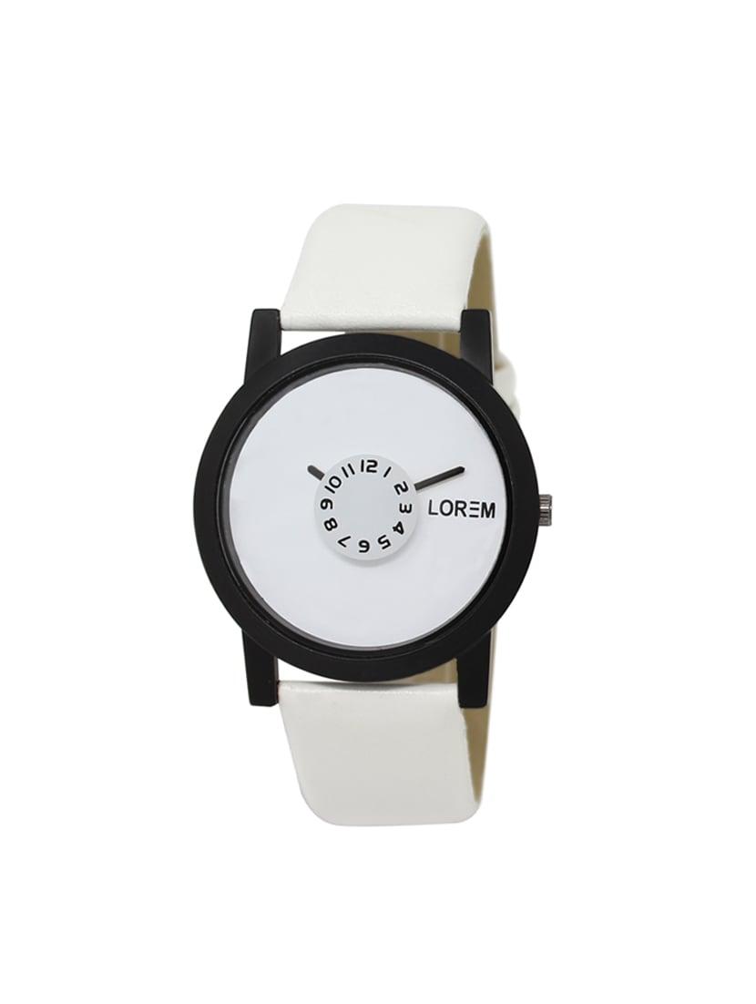 lorem analog attractive white dial men's watch