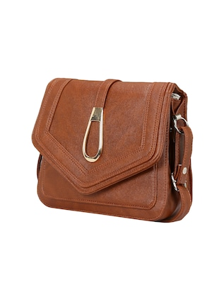 brown leatherette  regular sling bag - 14905666 - Standard Image - 4