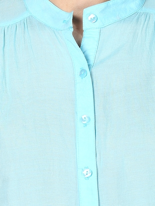 solid blue cotton shirt - 14905835 - Standard Image - 4