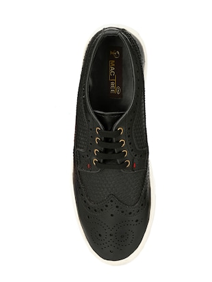 black leatherette lace up sneaker - 14908066 - Standard Image - 4