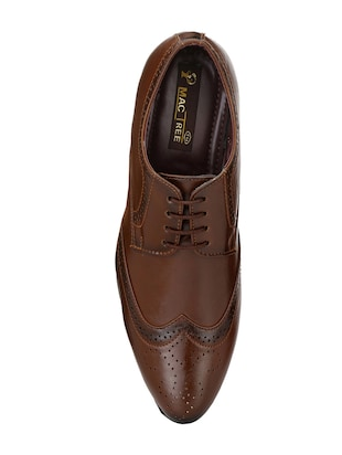 brown leatherette lace-up derby - 14908067 - Standard Image - 4
