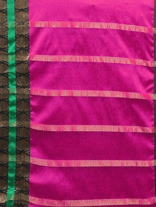 Color block bordered saree with blouse - 14909527 - Standard Image - 4