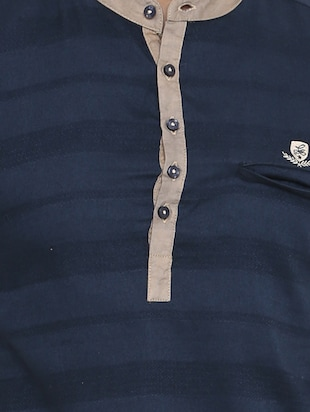navy blue cotton short kurta - 14911883 - Standard Image - 4