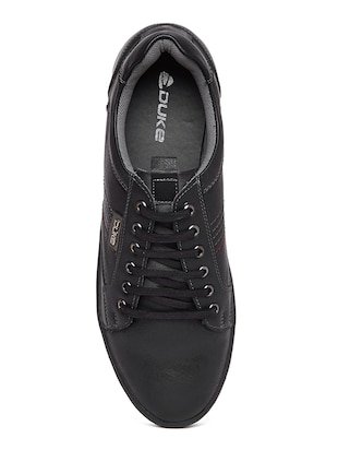 black leatherette lace up sneaker - 14912581 - Standard Image - 4