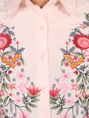 pink cotton embroidered shirt - 14914770 - Standard Image - 4