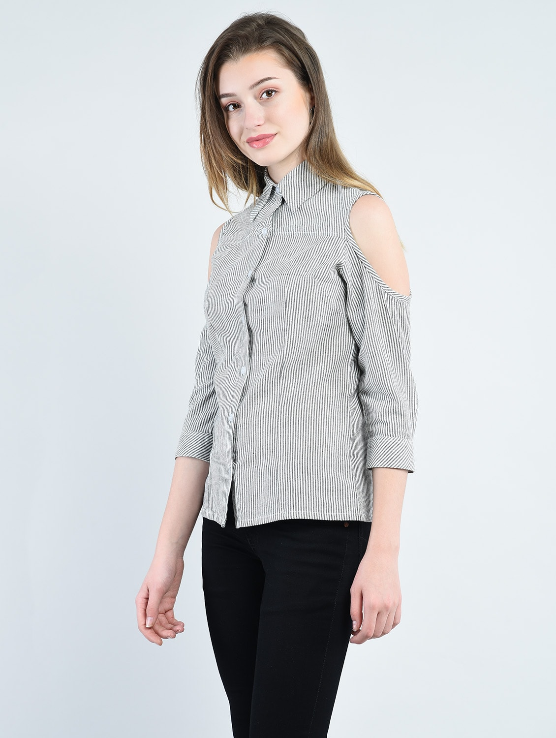 c0e14ced9da92 Buy Grey Striped Cold Shoulder Shirt for Women from Peptrends for ₹984 at  27% off