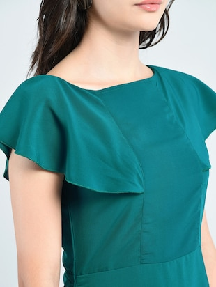 green solid gown dress - 14915214 - Standard Image - 4