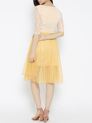 solid yellow fit & flare dress - 14915985 - Standard Image - 4